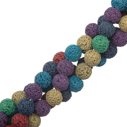 8mm round Volcanic Lava Mix Gemstone Beads