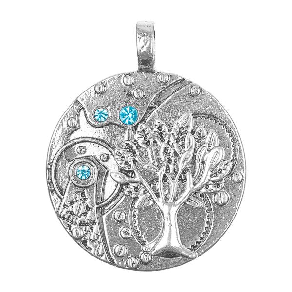 "1 3/8"" Antique Silver Tree of Life Pendant 1/pk"
