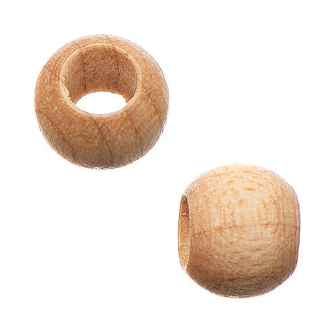 6.5x8mm Natural Round Wood Beads 50/pk