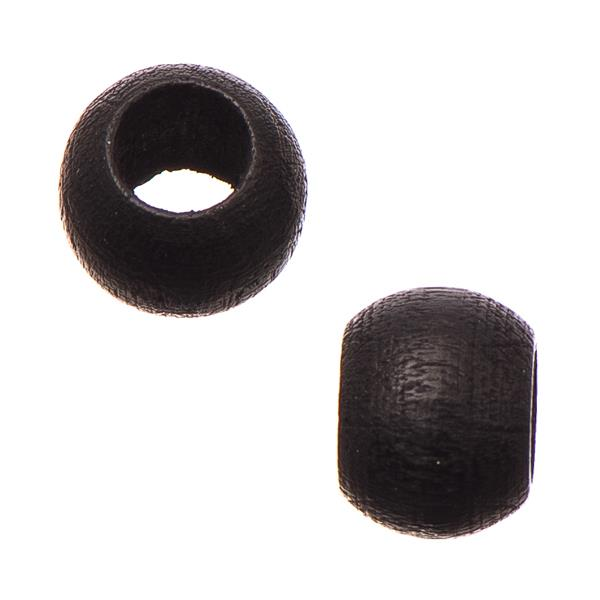 6.5x8mm Black Round Wood Beads 50/pk