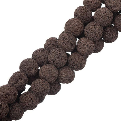 10mm Round Volcanic Lava Coffee Gemstone Beads