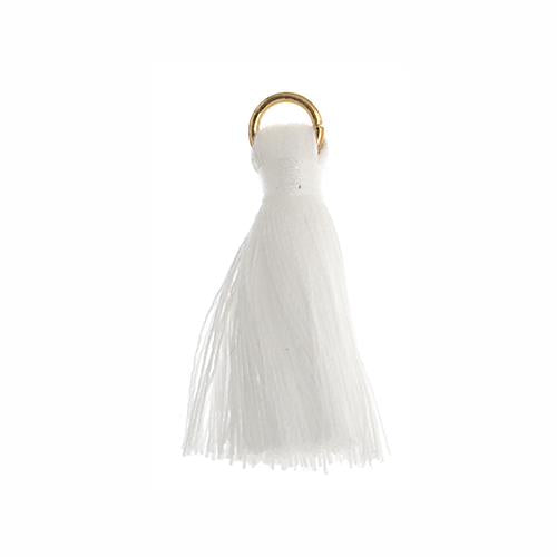 "1"" White Poly Cotton Tassels with Jump Ring 10/pk"