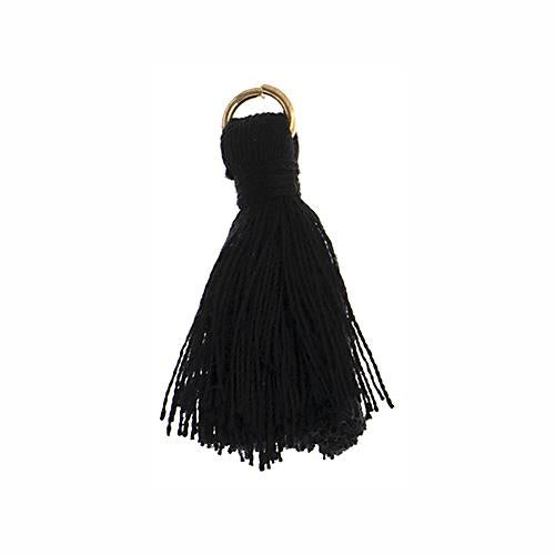 "1"" Black Poly Cotton Tassels with Jump Ring 10/pk"