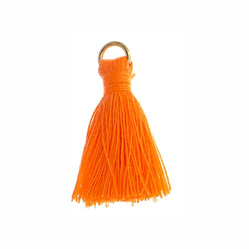 "1"" Orange Poly Cotton Tassels with Jump Ring 10/pk"