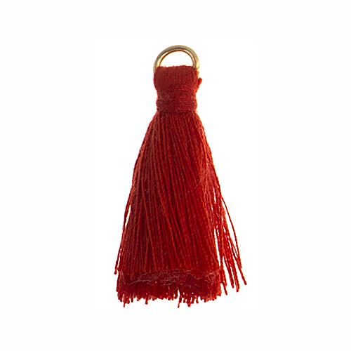 "1"" Red Poly Cotton Tassels with Jump Ring 10/pk"