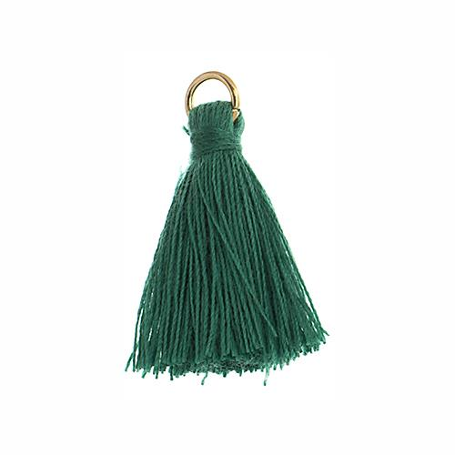"1"" Emerald Poly Cotton Tassels with Jump Ring 10/pk"