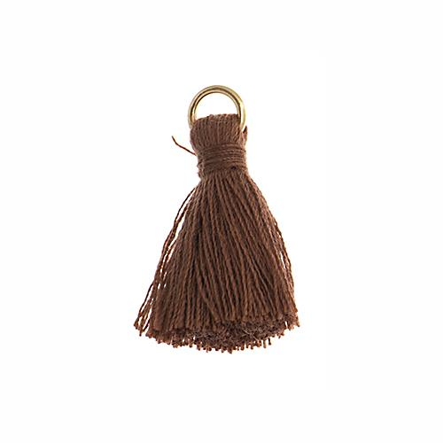 "1"" Brown Poly Cotton Tassels with Jump Ring 10/pk"