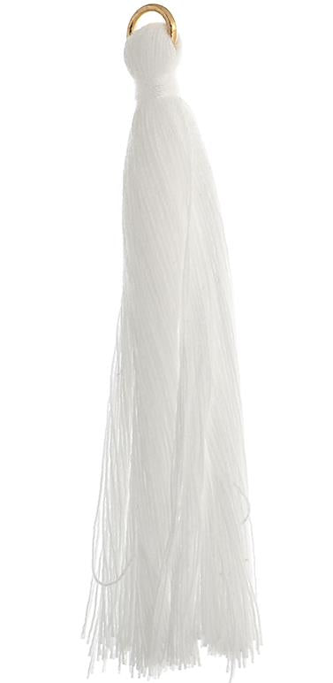 "2.25"" White Poly Cotton Tassels with Jump Ring 10/pk"