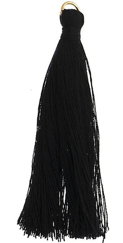 "2.25"" Black Poly Cotton Tassels with Jump Ring 10/pk"