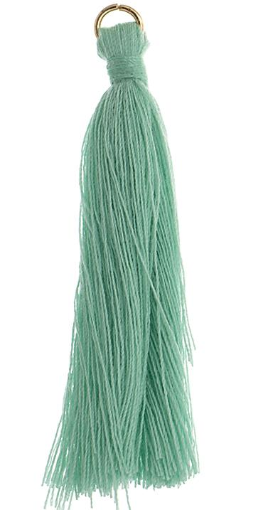 "2.25"" Turquoise Poly Cotton Tassels with Jump Ring 10/pk"