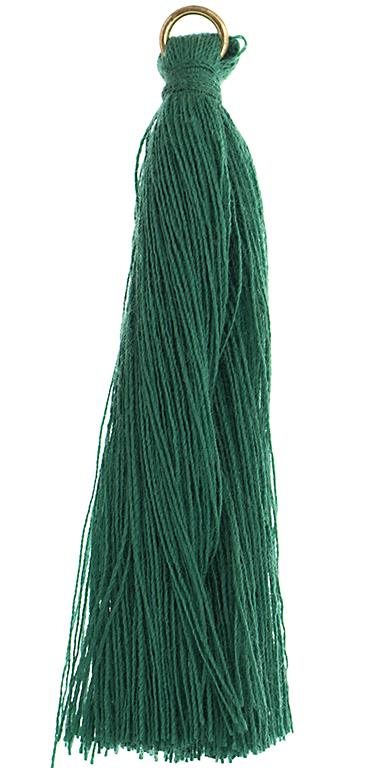 "2.25"" Emerald Poly Cotton Tassels with Jump Ring 10/pk"