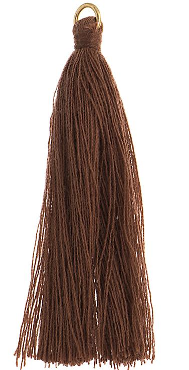 "2.25"" Brown Poly Cotton Tassels with Jump Ring 10/pk"