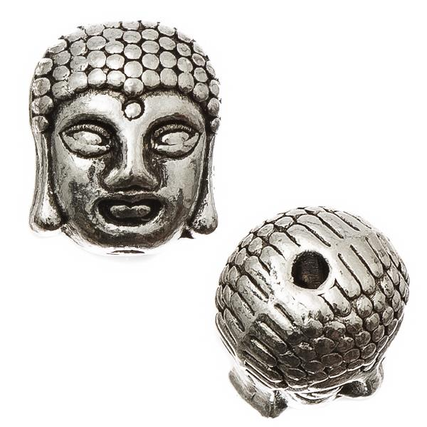 Antique Silver Buddha 9x11mm Metal Beads 5/pk