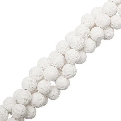8mm Volcanic Lava White Gemstone Beads