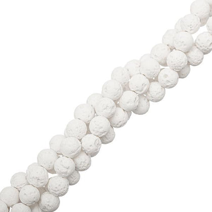6mm Volcanic Lava White Gemstone Beads