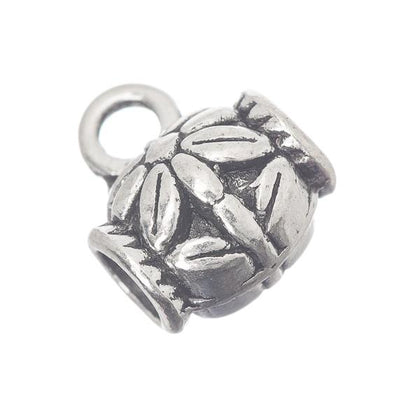 Antique Silver Flower Bead Bails 10/pk