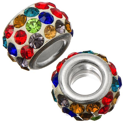 12mm White Pandora Style Multi Rhinestone Beads 5/pk