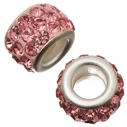 12mm Light Rose Pandora Style Rhinestone Beads 5/pk