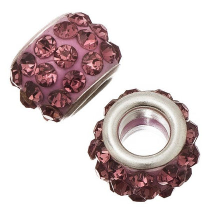 12mm Light Amethyst Pandora Style Rhinestone Beads 5/pk