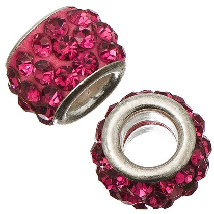 12mm Rose Pandora Style Rhinestone Beads 5/pk