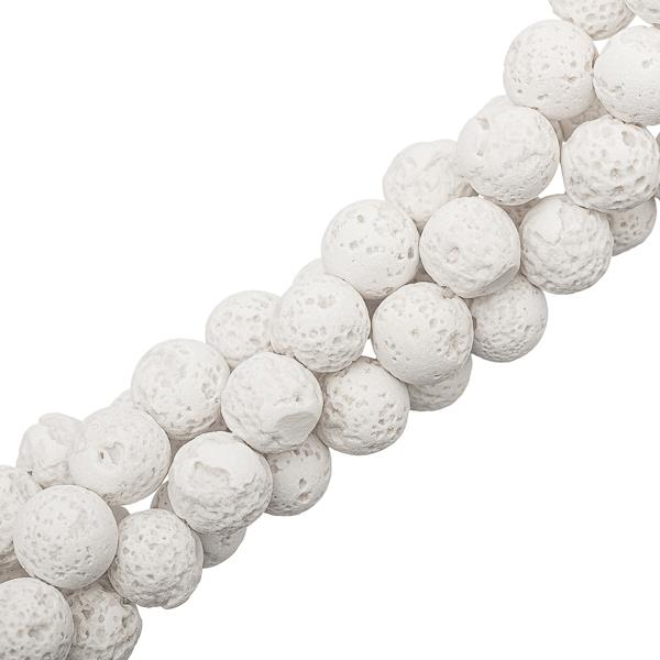 "10mm Lava White (Natural/Bleached) Beads 15-16"" Strand"