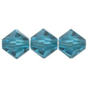 4mm Swarovski Bicone Blue Zircon