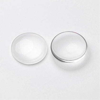 25mm Clear Glass Round Cabochon 10/pk