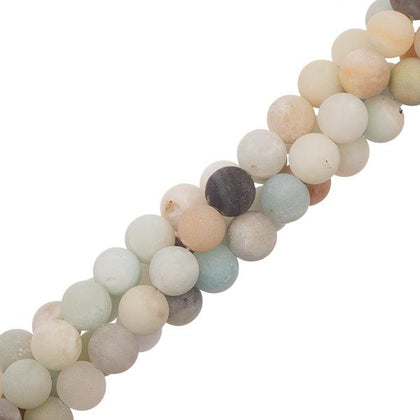 8mm Amazonite Matte Gemstone Beads 15-16