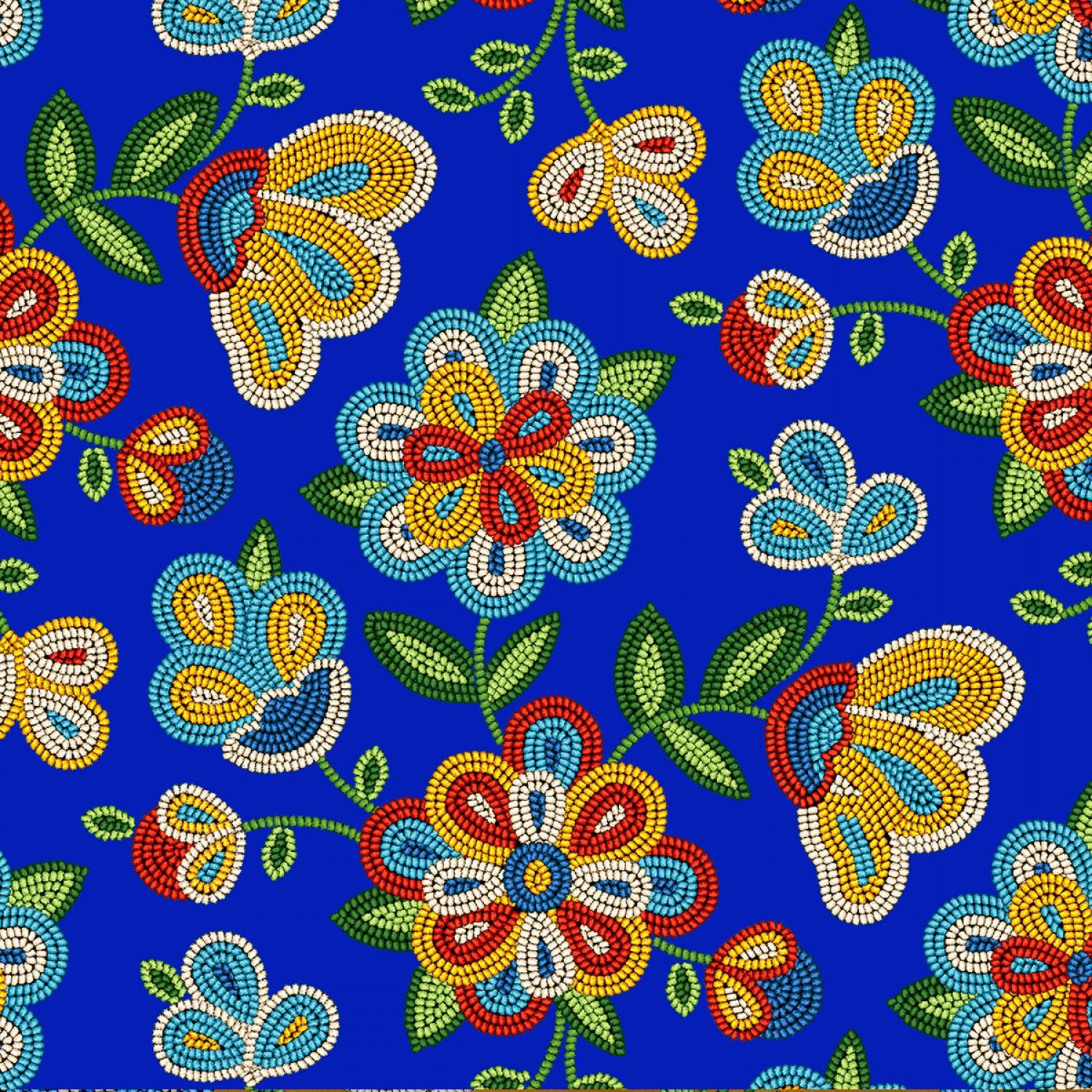 Beaded Floral Royal 100% Cotton - Price Per Yard