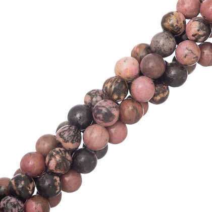 8mm Rhodonite Gemstone Beads 15-16