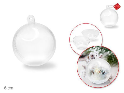 6cm Clear Plastic Snap-Tite Ornamental Ball 1/pk