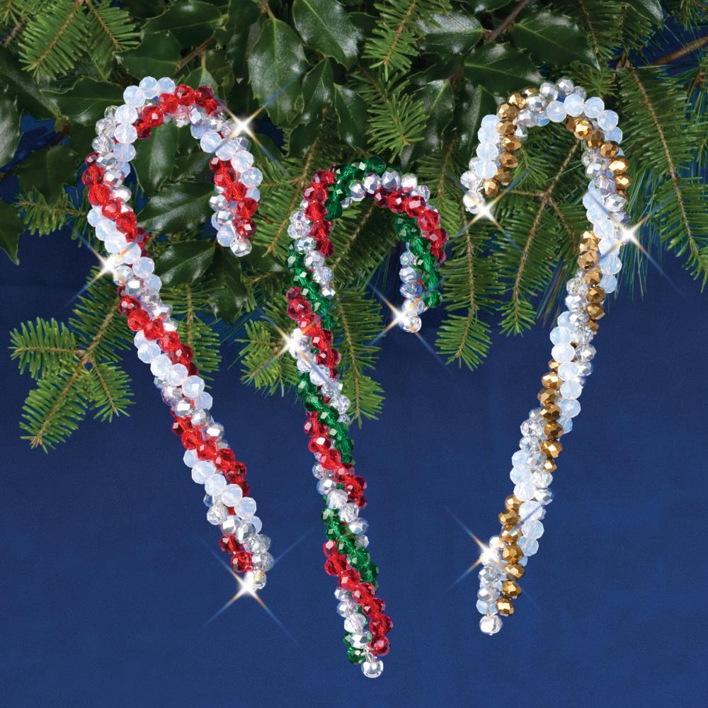 Crystal Bead Candy Canes Kit - Makes 3
