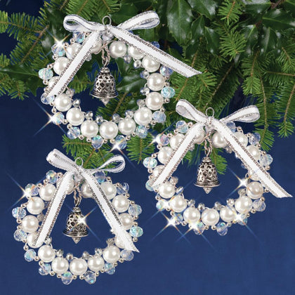 Crystal, White & Silver Bell Wreaths Kit - Make 3