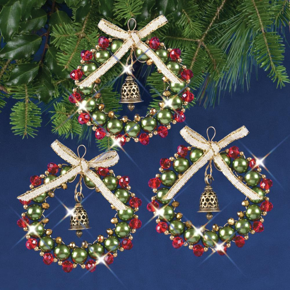 Crystal Bead Bell Wreaths Kit - Makes 3