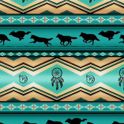 Wolves Turquoise 100% Cotton - Price Per Yard