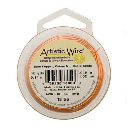18g Artistic Wire Bare Copper 10yd