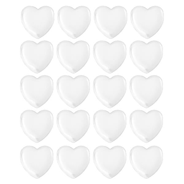 "1"" Clear Heart Epoxy Cabochons 20/pk"