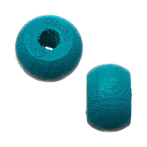 9mm Turquoise Wood Pony Beads 50/pk