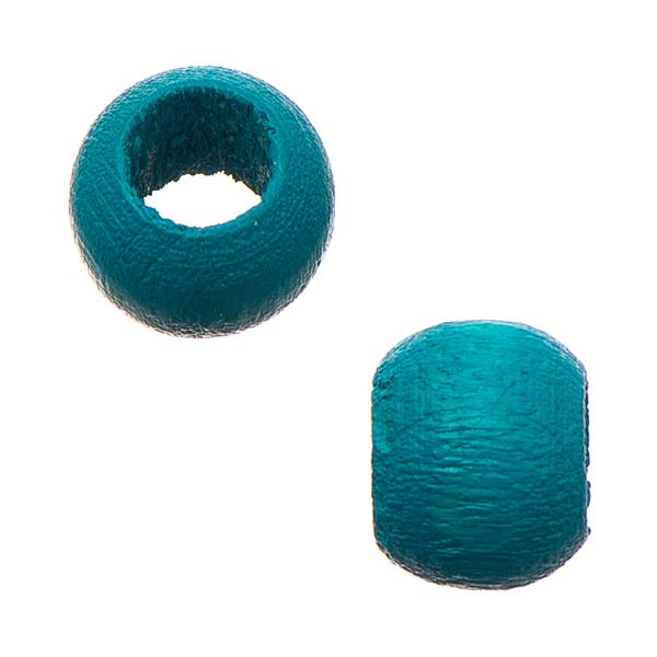6.5x8mm Turquoise Round Wood Beads 50/pk