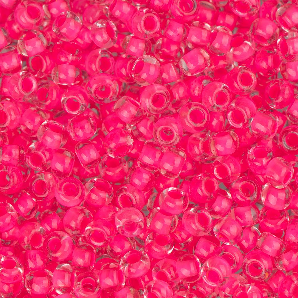 10/0 Czech Seed Beads Colour Lined Neon Pink 22g
