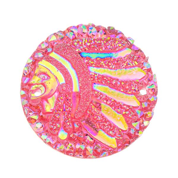 25mm Round Pink Chief Head Resin Cabochons 10/pk
