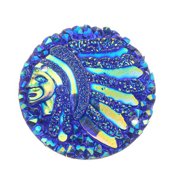 25mm Round Blue Chief Head Resin Cabochons 10/pk