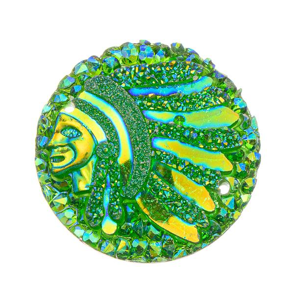 25mm Round Green Chief Head Resin Cabochons 10/pk