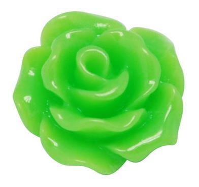 10mm Lime Green Flower Resin Cabochons 10/pk