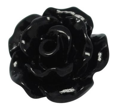 10mm Black Resin Flower Cabochon 10/pk