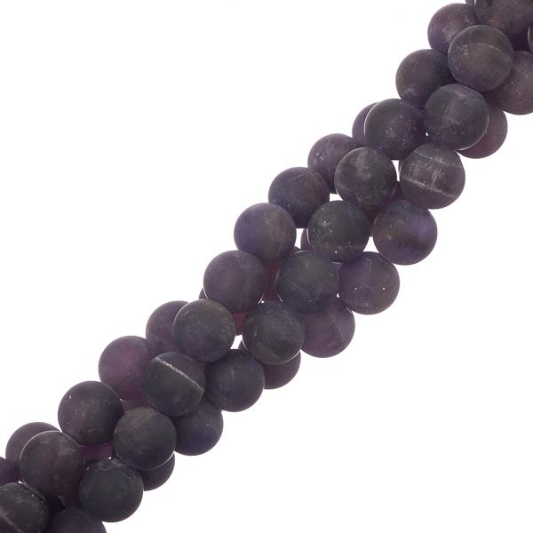 "8mm Amethyst Matte (Natural) Beads 15-16"" Strand"