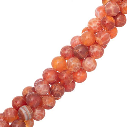 8mm Agate Fire (Natural) Beads 15-16