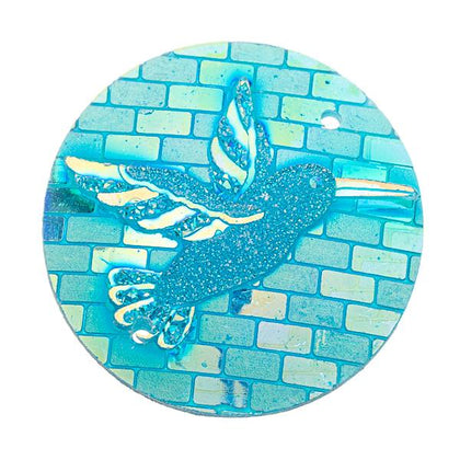 25mm Round Aqua AB Hummingbird Resin Cabochons 10/pk