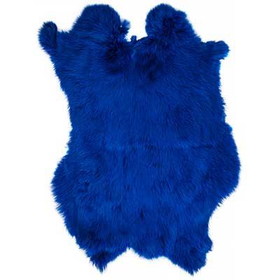 Rabbit Fur Pelt Dyed Blue