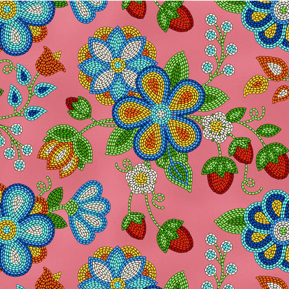 Beaded Strawberry Coral 100% Cotton  - Price Per Yard